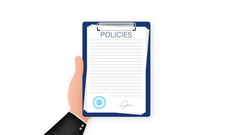 Policies in flat style. Checklist icon. Corporate document. Corporate document Animation