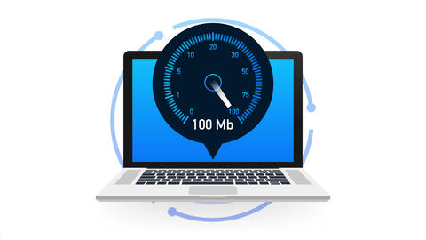 Speed test on laptop. Speedometer Internet Speed 100 mb. Website speed loading Animation