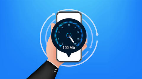 Speed test on smartphone. Speedometer Internet Speed 100 mb. Website speed Animation