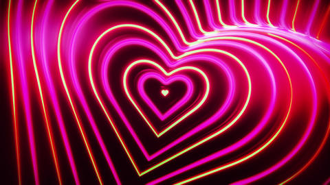 Trippy Neon Heart Looping Romantic Video Background Animation
