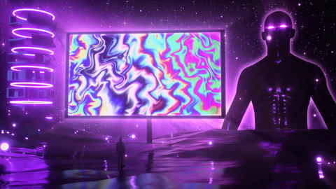 Watching a Psychedelic Trippy Monitor VJ Loop Motion Graphic Background Animation