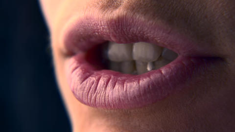 Close-up Lips Macro Female Human Mouth Open Closed Slow motion 0 5 real time speed 60p 3 Live Action