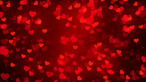 Romantic animation background. Red backgrounds with flying hearts Animation