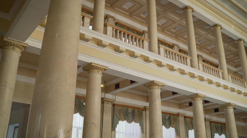 Balcony inside the building. Inside buildings in retro style Live Action