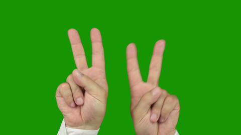 Hand sign: The symbol of victory. Alpha channel is included Stock Video Footage