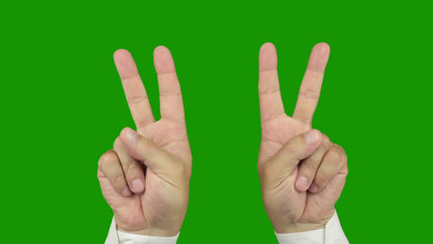 Hand sign: The symbol of victory. Alpha channel is included Footage