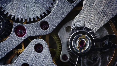 The mechanism of old watches. Close-up Footage