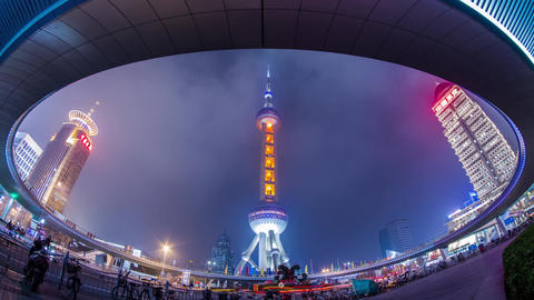Night View Of The East Pearl Tower Under The Pedes stock footage