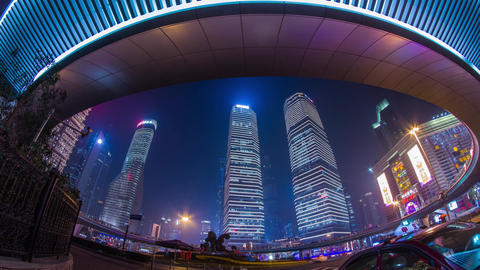 Night view of the IFC buildings Stock Video Footage