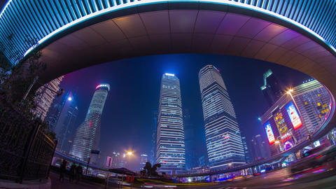 Night View Of The IFC Buildings stock footage