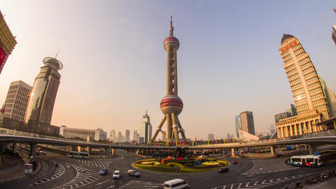 Day View Of The East Pearl Tower On The Pedestrian Ring stock footage