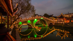 Night view of a Chinese traditional bridge Stock Video Footage