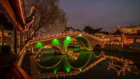 Night view of a Chinese traditional bridge Footage