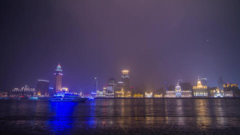 Boats Traffic at The Bund with lantern Stock Video Footage