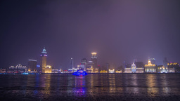 Boats Traffic at The Bund with lantern Footage