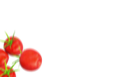 Two Tomato Cherry flows with slow motion. Alpha matte Stock Video Footage