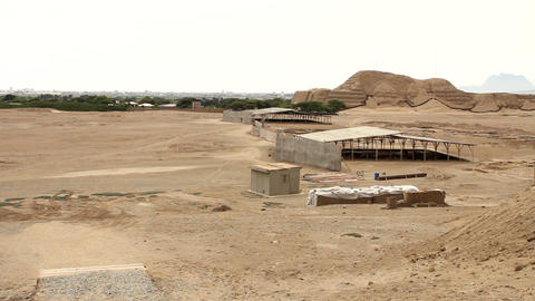 View of the tourist complex from Huaca de la Luna Stock Video Footage