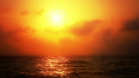 Ocean Sunset with Warm Coloration Footage