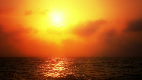 Ocean Sunset with Warm Coloration Stock Video Footage