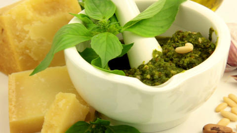Italian pesto sauce Stock Video Footage