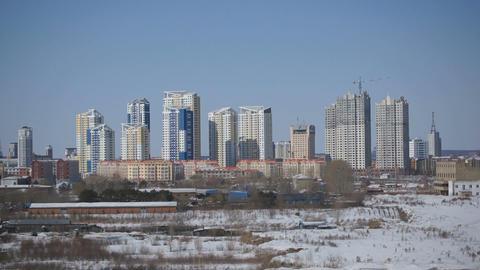 Chinese City of Heihe Panorama Stock Video Footage