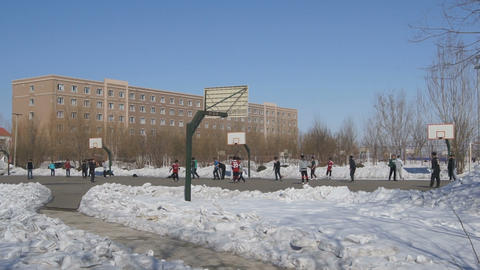 Chinese students play football and basketball 02 Stock Video Footage