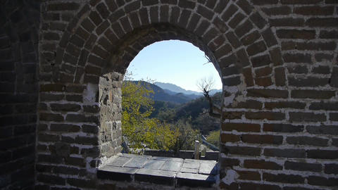 View Great Wall From Battlements Lookouts,China Ancient Defense Engineering stock footage
