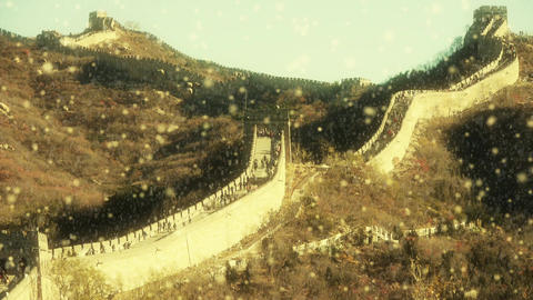 Great wall in dusk,China ancient defense engineering Live Action
