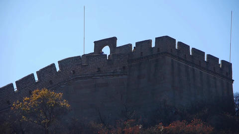 Great Wall Silhouette,China Ancient Defense Engineering stock footage