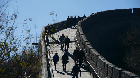 tourist climbing Great wall,China ancient defense engineering Live Action