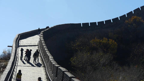 tourist climbing Great wall,China ancient defense... Stock Video Footage