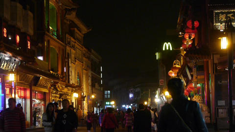 crowd walk in China Beijing night alley street market Stock Video Footage