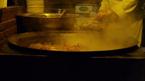 china tradition gourmet,pot roast in cauldron,chef... Stock Video Footage