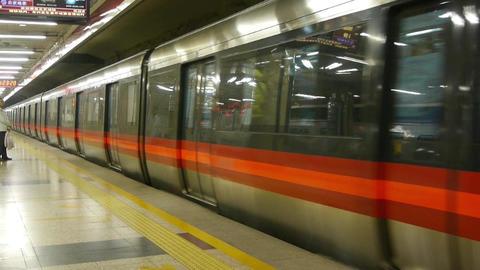 Train traveling leave Beijing subway station platform in... Stock Video Footage