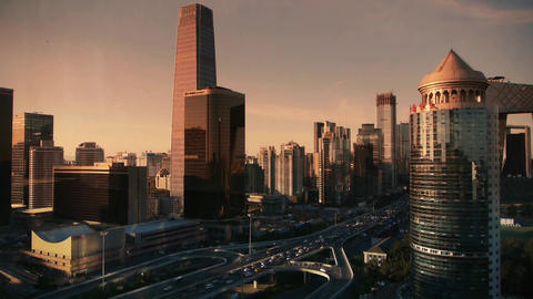 sunset business skyscraper district,aerial view of traffic in city Footage
