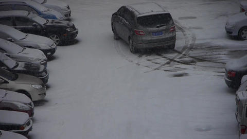 snow cover parking lot Stock Video Footage