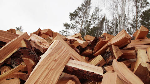 Pile Of Wood stock footage