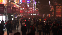 Slow Motion of a Busy Night Crowds Traffic on Nanjing Road Stock Video Footage