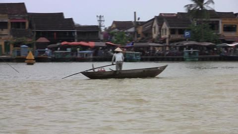 Hoi An Woman Rowing Stock Video Footage