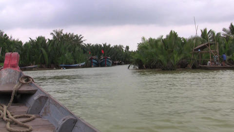 Hoi An 120 Fishing Boats Vietnam Stock Video Footage