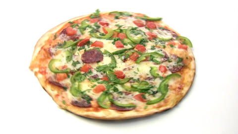 Pizza with salami rotate Stock Video Footage
