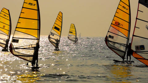 Sailboard Windsurfing Race Finish Line Stock Video Footage