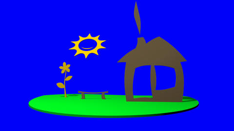 house, the sun and the lawn in childhood style (blue alpha) Stock Video Footage