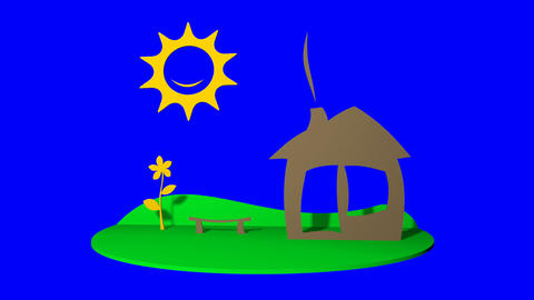 house, the sun and the lawn in childhood style (blue alpha) Animation