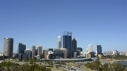 View of the City of Perth Skyline from King's Park Stock Video Footage