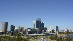 View of the City of Perth Skyline from King's Park Footage