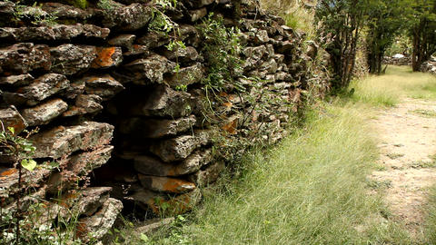 Ancient wall built by Wari people Footage