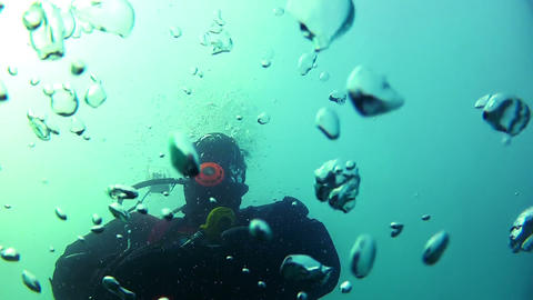 Diver and bubbles Stock Video Footage