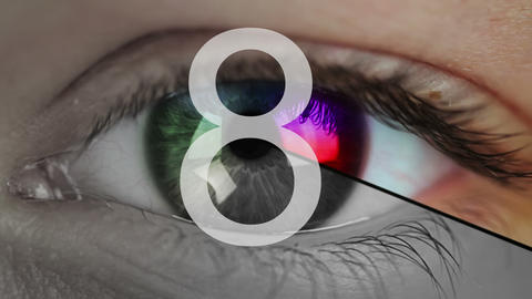 Eye close-up and countdown Footage