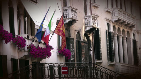 Venice. Building and flags Stock Video Footage